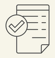 accepted document thin line icon valid document vector image