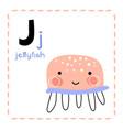 alphabet letter j for jellyfish for teaching kids vector image vector image