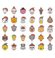 animal face with santa hat filled icon editable vector image
