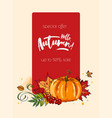 autumn hello banner with autumnal pumpkin vector image