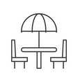 beach umbrella on table and chair outline icon vector image