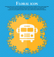 Bus icon Floral flat design on a blue abstract vector image vector image