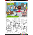 cartoon people in city coloring book page vector image vector image