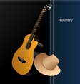 Classical acoustic guitar cowboy hat vector image vector image