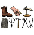 cobbler set professional equipments for shoe vector image vector image