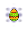Colorful easter egg icon comics style vector image vector image