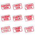 coming soon square imprint red lettering vector image