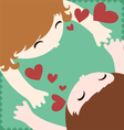 Couple in love hug and kiss vector image vector image