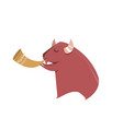 cute bison playing trumpet vector image
