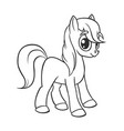 cute cartoon little white baby horse vector image