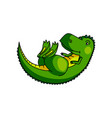 cute colorful green dino stay on his back with vector image