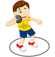 Cute Man athlete doing shot put