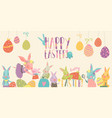 cute rabbit and bunny with easter eggs vector image vector image