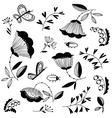 Doodle floral decorative design elements set vector image