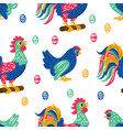 easter print holiday cock seamless pattern vector image vector image