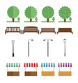 Elements of the park benches lights market tent vector image
