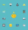 flat icons teller machine finance sack vector image vector image