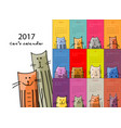 funny cats design calendar 2017 vector image vector image