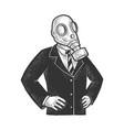 gas mask politician sketch vector image vector image