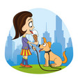 girl with ice cream in hand and cute dog vector image