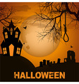 Halloween background with spooky house trees and vector image