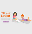 happy smiling kids drawing painting and coloring vector image