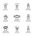 Human feelings icons set outline style vector image vector image