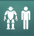 humans vs robots white icons concept business vector image vector image