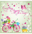 Image with flowers in pots and bicycle on sky blue vector image vector image