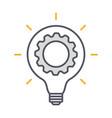 innovation thin line symbol cogwheel and lamp vector image