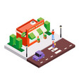 isometric city street composition vector image vector image
