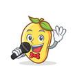 karaoke mango character cartoon mascot vector image vector image