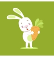 Little Girly Cute White Pet Bunny With Giant vector image