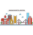massachusetts bostoncity skyline architecture vector image vector image