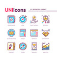 modern icons collection of business and finance vector image