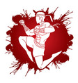 muay thai action thai boxing jumping to attack vector image
