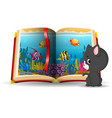 ocean scene in the book and cat vector image vector image