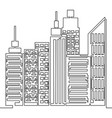 one line style skyscraper city skyline vector image