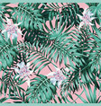 palm leaves pink background pattern vector image vector image
