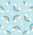 pastel rainbow with note seamless pattern vector image vector image