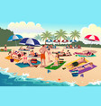 people sunbathing on the beach vector image vector image