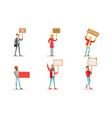 protesting people set men and women holding blank vector image vector image