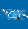 public cloud within a company icon of global data vector image