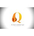 q orange letter design brush paint stroke gold vector image vector image
