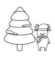 reindeer with hat and tree snow decoration merry vector image vector image