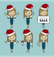 santa girls different poses christmas sale vector image