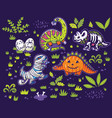 set of cartoon dinosaurs in costumes of a pumpkin vector image vector image