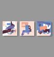 set three abstract cardsdrawn doodles cats vector image vector image