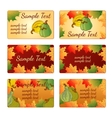 Six templates and cards with pumpkins and leaves vector image