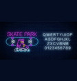 skatepark glowing neon sign with alphabet skating vector image